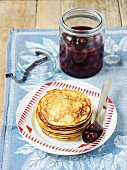 Quark pancakes with cherry compote