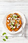 Grilled pumpkin with feta and mint