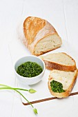 Wild garlic pesto on ciabatta bread