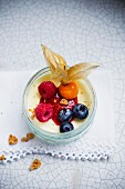 Panna cotta with berries and physalis