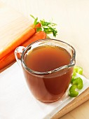 Beef stock, fresh carrots and celery