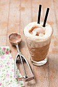 Iced coffee with chocolate ice cream