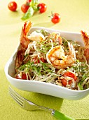 Soya spaghetti with King prawns