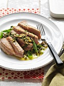 Tuna with green olive salsa verde