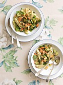 Rigatoni with garlic courgettes and crab meat