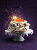 Pavlova with sparklers for Christmas