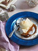 White chocolate mousse on spiced ice cream with honey cake crumbs