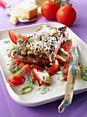 Beefsteak with tomatoes, yoghurt sauce and dill