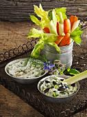Raw vegetables with a tofu dip and herb-quark dip