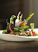 Vegetable salad with asparagus, carrots and radishes