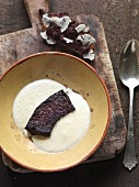 Cauliflower soup with black pudding