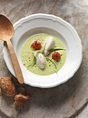 Wild garlic foam soup with hake dumplings