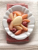 Schilcher sorbet (Austrian rosé wine) with vineyard peaches and raspberries