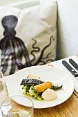 Grilled mackerel with cucumber strips and capers in the Outlaw's Fish Kitchen restaurant (Port Isaac, Cornwall)