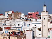 A view of Larache with typical blue-and-white houses, Morocco