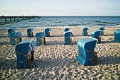 Blue beach chairs on the sandy beach at Kühlungsborn, Rostock