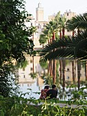 A couple enjoying the peace and the view through the palm trees at the Medina of Fez, one of the four royal cities in Morocco