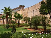 Gardens and the palace walls in Meknes, one of the four royal cities of Morocco