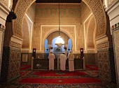 Prayers in the Mausoleum Moulay Ismail in Meknes, the only mosque in Morocco that non-Muslims may enter