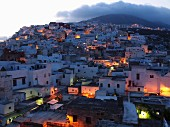 A view of the Medina of Tetouan at dusk, Morocco