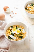 Chickpea stew with cod and spinach