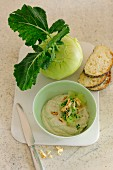 Kohlrabi spread with cream cheese and walnuts