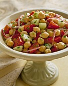 Chickpea salad with tomatoes and red onions