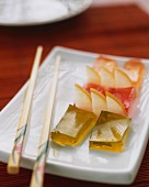Tea-flavoured jellies with fresh fruit (Japan)