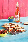 Quesadillas with chorizo and a tomato and mint salsa (Mexico)