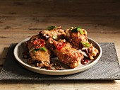 Spicy chicken wings with chilli and spring onions