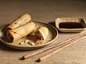 Vegetable spring rolls with soy sauce for dipping