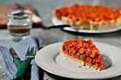 Potato tart with tomatoes and pepper