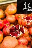 Fresh pomegranates at a market