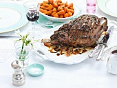 Roast lamb with glazed carrots for Easter
