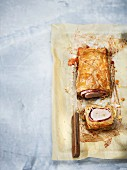 Veal fillet with ham wrapped in puff pastry