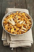 Chanterelle mushrooms in a metal bowl