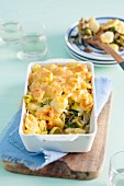 Gratinated leek and potato bake with pineapple
