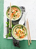 Coconut soup with red Thai curry, bok choy and spring onions