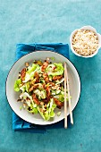Oriental chicken salad with cucumber and cashew nuts