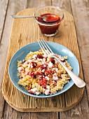 Fusilli with quark and strawberry jam