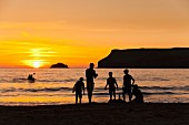 Sunset on Polzeath Beach (Cornwall, England)