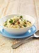 Oriental couscous with sultanas, almonds and coriander