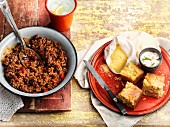 Chilli con carne and cornbread
