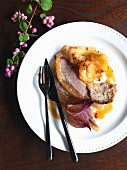 Roast goose with a chestnut stuffing