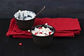 Quark dishes made with puffed buckwheat and pomegranate seeds
