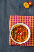 Colourful tomato and pepper soup