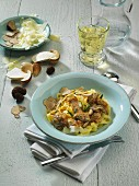 Tagliatelle with porcini mushrooms in a creamy sauce