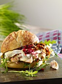 Turkey sandwich with brie and cranberries