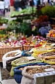 Sacks of herbal teas at a market