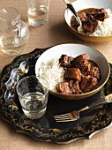 Pork vindaloo with rice (India)